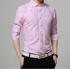 Spesifikasi Baru Musim Gugur Ramping Pria Stamp Diamond Buckle Collar Plaid Shirt Pink Intl