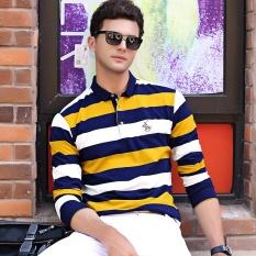 Baru Fashion Musim Gugur Musim Dingin Pria Lengan Panjang T-shirt Bisnis Stripe Lapel Katun Jaket Pria T-shirt Pakaian Pria Pakaian Polo Shirt Longgar-Intl