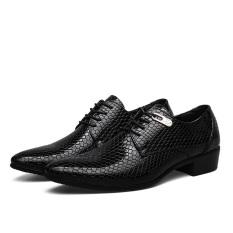 Model Bergaya Inggris Klasik Kulit Ular Pria Merek Lini Bisnis Pakaian Sepatu Pria Sepatu Kulit (hitam)-International