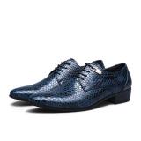 Ulasan Tentang Model Bergaya Inggris Klasik Kulit Ular Pria Merek Lini Bisnis Pakaian Sepatu Pria Sepatu Kulit Biru
