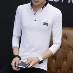 New Fashion Santai Nyaman Kapas Lengan Panjang Lapel Musim Gugur Pemuda Pria Polo Shirt-Intl