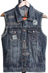 Harga Baru Fashion Denim Rompi Jeans Slim Fit Tanpa Lengan Plus Ukuran Patchwork Rompi Musim Dingin Musim Semi New