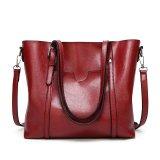 Review Toko Baru Fashion Handbags Tas Besar Wild Shoulder Messenger Bag Sederhana Minyak Lilin Kulit Portable Merah Intl Online