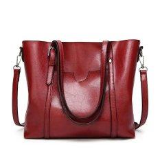 Promo Baru Fashion Handbags Tas Besar Wild Shoulder Messenger Bag Sederhana Minyak Lilin Kulit Portable Merah Intl