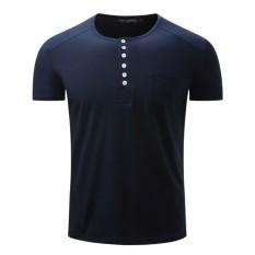 Baru Fashion High End Santai Nyaman Kapas Lengan Pendek Tombol Terbuka Youth Men Polo Shirt-Intl