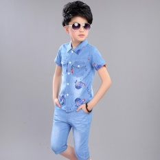 Baru Fashion Anak Anak Set Pakaian Denim Shirt + Jeans Pendek 100{55e037da9a70d2f692182bf73e9ad7c46940d20c7297ef2687c837f7bdb7b002} Cotton Remaja Boy Suit Set-Intl