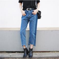 Spesifikasi New Fashion Korean Style Women Jeans Cropped High Waist Jean Femme Straight Push Up Jeans Womens Pants Two Colors Intl Terbaru