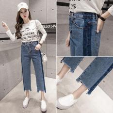 Harga Baru Fashion Korean Style Jeans Wanita Cropped Tinggi Pinggang Jean Femme Lurus Jean Push Up Womens Celana Dua Warna Intl Terbaik