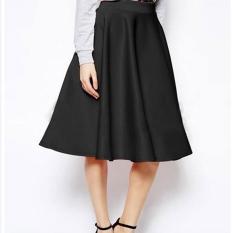 Ongkos Kirim Baru Fashion Lady Wanita Tinggi Pinggang Murni Warna Calf Length Kasual Partai Slim Pleated Skirt Intl Di Tiongkok