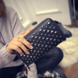 Jual New Fashion Lady Women Leather Clutch Wallet Long Card Punk Rivet Wallet Bk Intl Joomia Online