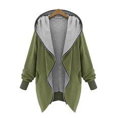 Harga Baru Fashion Ukuran Besar Kasual Wanita Longgar Jaket Berkerudung Cardigan Mantel Intl Oem Original