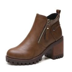 Baru Fashion Martin Boots Musim Gugur Musim Dingin Wanita Leather Motorcycle Boots Kasual Bulat Toe ZIP Sepatu Bot Wanita Sepatu-Intl