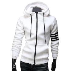 Situs Review New Fashion Pria Hoodie Merek Rekreasi Sesuai Berkualitas Tinggi Sweatshirt Pria Casual Zipper Hooded Jaket Putih Intl