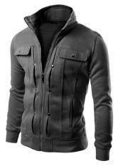 Baru Fashion Pria Slim Fit Sweater Kardigan Jas Jaket Abu Abu Gelap Murah