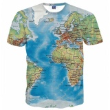 Spek Baru Busana Pria T Shirt 3D Mencetak Peta Slim Fit Lengan Pendek Merek Baju T Shirt Pakaian Mens Summer Tops Tees Intl Oem