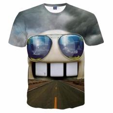 Baru Fashion Pria/Wanita 3D T-shirt Cetakan Lucu Road Di Kacamata Cat Mulut Summer Tops Celana Pendek Lengan Tees Tshirts -Intl