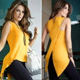 Baru Fashion Wanita Seksi Musim Panas Tanpa Lengan Chiffon Back Cross T Shirt Tops Dasar T Shirt Atasan Kasual Camisoles Kuning Intl Original