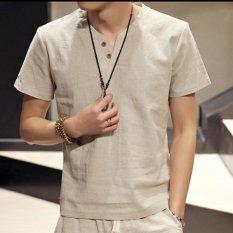 Harga Baru Fashion Slim Lengan Pendek V Leher Linen T Shirt Casual Tombol Menghias Beige Unbranded Ori