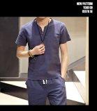 Situs Review Baru Fashion Slim Lengan Pendek V Leher Linen T Shirt Casual Tombol Menghias Navy