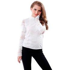 Model Blus Wanita Musim Semi Musim Gugur Potongan Baju Lengan Panjang Putih Berenda Yang OL Pake Kemeja Kerja Wanita Puncak
