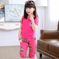 Diskon Baru Fashion Musim Panas A Gadis Pakaian Set Pendek Lengan T Kemeja Floral Shorts 2 Pcs Bayi Gadis O Neck Pakaian Set Pink Intl No Brand Tiongkok