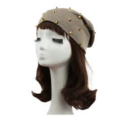 Jual Model Kupluk Pria Wanita Unisex Desain Dekorasi Rivet Solid Hip Hop Bungkuk Topi Hiasan Kepala Ori