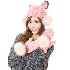 Spesifikasi Fashion Baru Musim Dingin Wanita Rajutan Sarung Tangan Bulu Imitasi Warna Kontras Telinga Kucing Sarung Tangan Hangat Beserta Harganya
