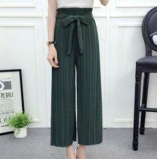 Baru Fashion Wanita Lace-up Berkaki Lebar Celana Sembilan Celana Halus Leisure Female Panjang Lurus Celana-Intl
