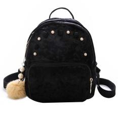 Baru Fashion Wanita Mini Velvet Backpack Casual Schoolbag untuk Remaja Girls (Hitam)-Intl