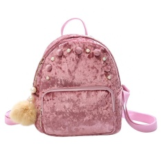 Toko New Fashion Women Mini Velvet Backpack Casual Schoolbag For Teenage Girls Pink Intl Vakind Tiongkok