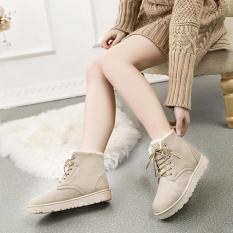 Penawaran Istimewa Baru Fashion Wanita Round Toe Ankle Boots Sepatu Flat Dengan Lace Up Boots Khaki Intl Terbaru