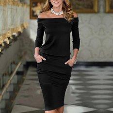 Jual Beli New Fashion Women Slash Neck Off Shoulder Pencil Slim Bodycon Dress Black Intl Baru Indonesia