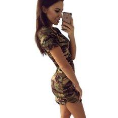 Baru Fashion Wanita Musim Panas Gaun Lengan Pendek Seksi Gaun Mini Wanita Hijau Gaun Kamoflaj Hijau Tentara Intl Original