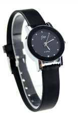 Beli Baru Fashion Wanita Hitam Pu Kulit Berkualitas Tinggi Dail Quartz Wrist Watch Jam Tangan Murah