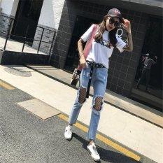 Baru Fashion Wanita Sobek Jeans Fashion Di Pinterest | Boyfriend Jeans untuk Wanita Merenda Lubang Denim Pants Big Lubang Solid Seksi Bagian Bawahnya Wanita-Intl