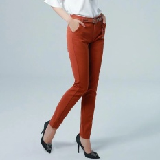 New Feet Celana Santai Oblique Dimasukkan Pinggang Tinggi Trendy Model Celana OL Wear-Intl