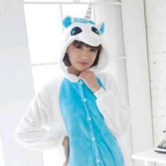 Review Baru Flanel Unicorn Piyama Kartun Cosplay Dewasa Unisex Homewear Piyama Hewan Hoodie Unicornio Hooded Biru Intl Oem Di Tiongkok
