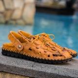 Baru Asli Kulit Pria Sandal Perancang Busana Breathable Walking Tahan Lama Beach Sandal Lace Up Sandal Pria Flats Brown Intl Fancy Fashion Diskon 50