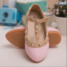 Harga Baru Girls Buckle Sandal Keling T Strap Menunjuk Toe Flats Pu Kulit Putri Anak Sepatu I62 Warna Merah Muda Intl Dki Jakarta