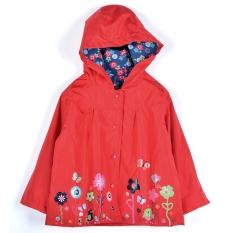 Baru Gadis Anak Anak Lucu Cetak Hooded Lengan Panjang Jaket Waterproof Jas Hujan Asli