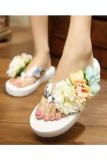 Perbandingan Harga New Herringbone Pantai Sandal Flip Flops Dengan Bunga Slope Putih Di Tiongkok