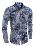 Model Baru Berkualitas Tinggi 3D Snow Men S Casual Shirt Navy Blue Terbaru