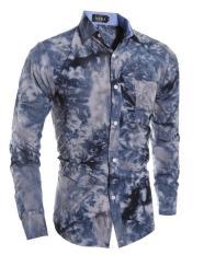 Baru Berkualitas Tinggi 3D Snow Men S Casual Shirt Navy Blue Indonesia Diskon