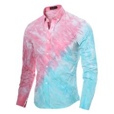 Toko Baru Berkualitas Tinggi 3D Tie Pencetakan Pewarna Oblique Splicing Mens Kaos Lengan Panjang Beach Wind Shirt Pink Warna Terdekat