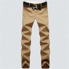Baru Berkualitas Tinggi Warna Solid Celana Santai Pria Katun Model Korea Straight Pants (khaki)-Intl