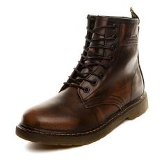 Harga Baru Casual Top Tinggi Martin Sepatu Pria 2017 Eropa Dan Amerika Retro Style Ankle Motor Boots Man Musim Gugur Musim Dingin Kulit Asli Dr Martin Boots Pecinta Brown Intl Terbaik