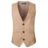 Baru Hot Bisnis Liburan Single Breasted Suit Rompi Warna Warni Pria Gaun Rompi Ukuran Lebih Internasional Murah