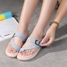 Baru Panas Jual Fashion Wanita's Kulit Sandal Kasual Anti-penyaradan Flat Sandal Y2356-315-Blue-Intl