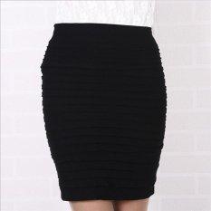 Baru Panas Wanita Paket Pinggang Langsing Polyester Mini Langkah Rok Bergaris C570 Warna Hitam