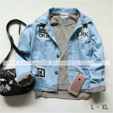 Beli New Jaket Jeans Denim Wanita Vintage Light Blue Baru